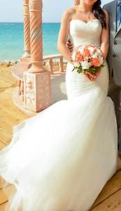 Mori Lee 5108 Wedding Dress w/ Crystal Belt, Veil & Hair Brooch