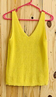 New Bar III Women's Size L Large Yellow V-Neck Sweater Shell Best Knitted