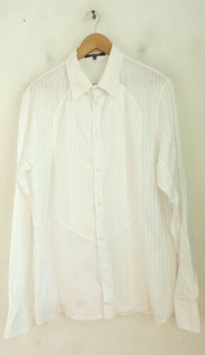 ROBERT CAVALLI Mens Size XL White Formal Event Tuxedo Shirt