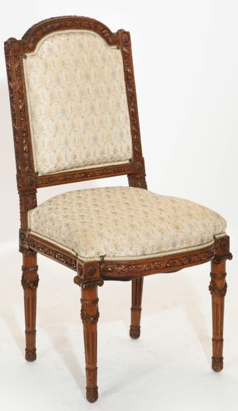 Louis XVI Style Carved Walnut Side Chair