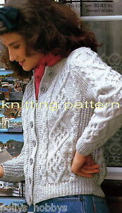 KNITTING PATTERN LADIES MODERN ARAN CABLE CARDIGAN #100 FREEPOST