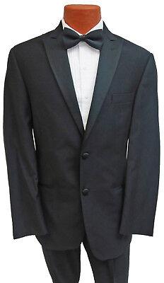 Mens Black Ralph Lauren Tuxedo w/ Pants High Quality 100% Wool Satin Peak - Wool Tux