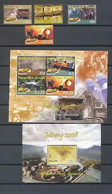 PAPUA NEW GUINEA PNG 2008 Gold Mining Refinery Set+2 Sheets MNH(Pap136)