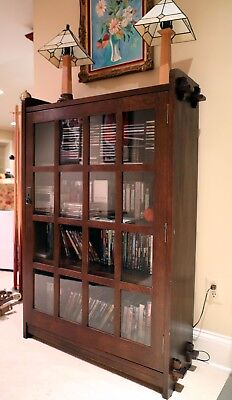 Stickley Arts and Crafts Mission Oak Single Book Case With Glass Door