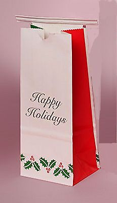 Happy Holidays Christmas Cookie bags Tin - Tie 1/2 lb poly laminated inner - Holiday Cookie Bags