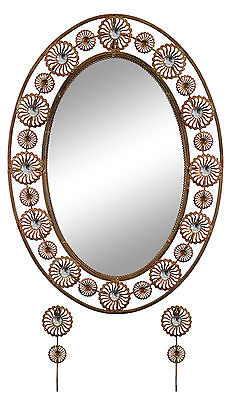 Elegant Bejeweled Copper Oval Wall Mirror with Matching Keychain Holders 30x21