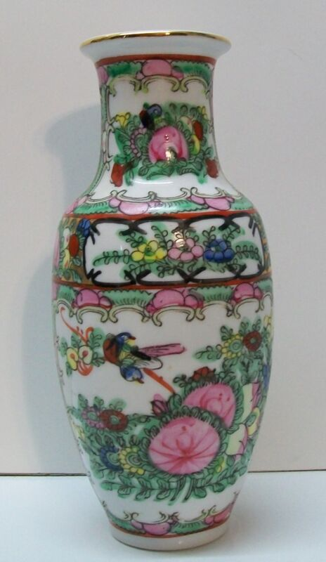 Chinese Vase Canton Famille Rose Birds Flowers Butterfly Design Signed Vintage