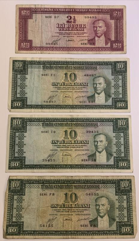 1930 2 1/2 & 10 Turk Lirasi Turkey Lira RARE Banknotes. 4 Notes