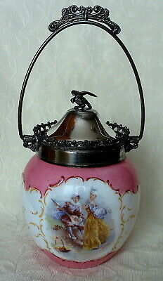ANTIQUE OPAL GLASS BISCUIT BARREL JAR SILVER PLATED LID WITH EAGLE FINIAL