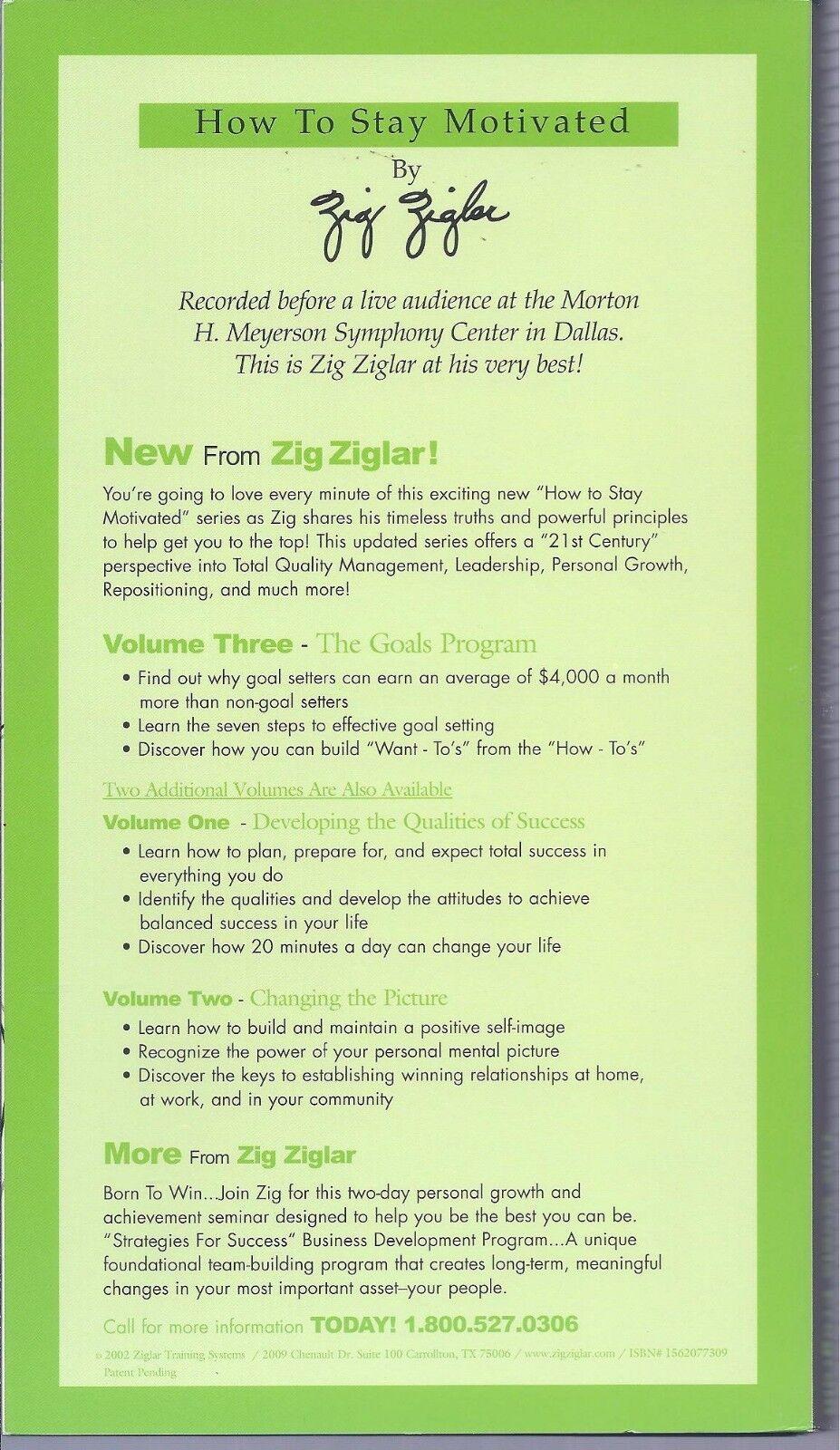 How To Stay Motivated - Volume 1. 2 3 By Zig Ziglar - 19 Audio CD Set - $179.99