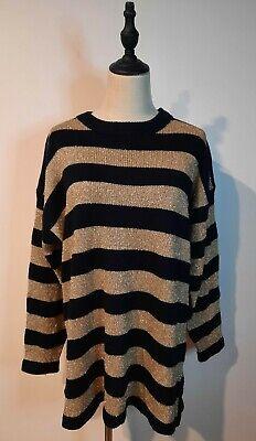 80s Sweatshirts, Sweaters, Vests | Women VINTAGE 80'S ~ Jump Black Gold Thread New Wave Striped Knit Jumper Top L $36.38 AT vintagedancer.com