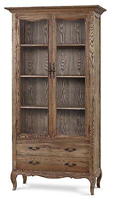 French Provincial Vintage Bookcase Natural Oak Display Cabinet Kitchen Cupboard