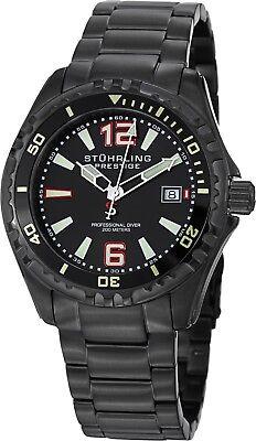 Stuhrling Regatta Captain Men's 44mm Black Swiss Quartz 20 ATM Watch 382.335B1