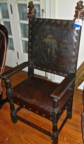 Antique Gothic Throne Chair Leather and Wood With Brass Brads Steampunk