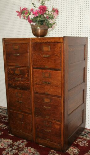 Antique American Vintage 8 drawer Double Oak Wood File Cabinet Rolltop circa1890