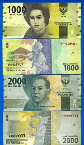 Indonesia 1000 & 2000 Rupiah Year 2016 Uncirculated Banknotes Set # 10