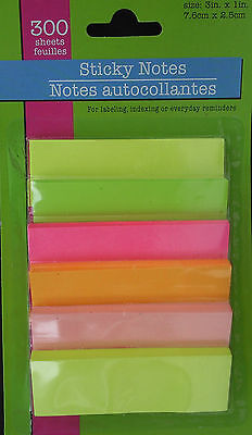 """STICKY NOTES Assorted Neon Colors 3""""x1"""" 50 Sheets/Pad 6 Pads Total 300 Sheets for sale  Shipping to India"""