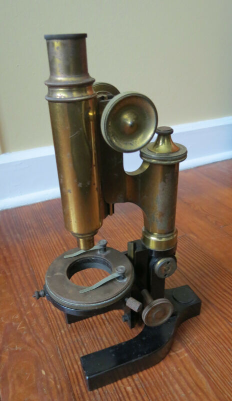ANTIQUE BRASS BAUSCH & LOMB SAUVEUR & BOYLSTON MICROSCOPE Pat 1897 Metallurgic