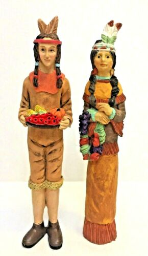 """Thanksgiving Harvest Figurines Indians Native American 6""""-6.5"""" Resin"""