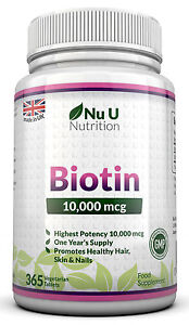 Biotin 10,000mcg Maximum strength 365 Tablets Supports Healthy Hair and Nails