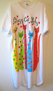Womens Kitty Cat Nightshirt Sleepshirt Nightgown Sleepwear One Size by Relevant