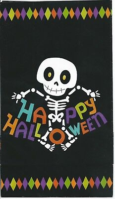 Happy Halloween Paper Lunch Bag Goody Treat Party Favor Sack 4ct Skeleton Funky (Happy Halloween Goodie Bags)