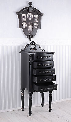 CÓMODA NEGRO Torre KOMMODE Mesita de noche Antiguo Armario con cajones