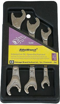 Alden Combination Open-Ratcheting SAE Stainless Steel Wrenches 3/8-11/16 - Alden Open Ratchet Wrench