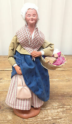 Clay French Provence Figurine Santon Old Broad Escoffier Basket Purse Market