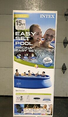 INTEX 15FT X 48IN EASY SET POOL SET WITH FILTER PUMP LADDER GROUND CLOTH & COVER