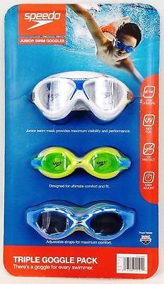 SPEEDO KIDS SWIM GOGGLES TRIPLE PACK UV PROTECTION ADJUSTABLE AGES 6-14