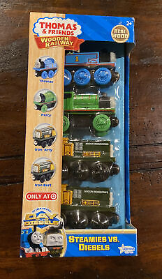 THOMAS & FRIENDS Wooden Railway Steamies vs. Diesels Engine 4 Piece Set MIB