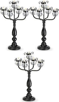 "3 large 18"" BLACK chandelier CANDELABRA Candle holder wedding table centerpiece](Table Chandelier Centerpieces)"