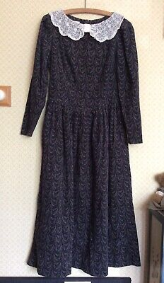 Vintage Laura Ashley Needlecord Dress. UK 10. Black/Grey Paisley. Lace Collar.