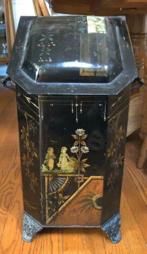 Victorian Antique Coal Wood Ash Scuttle Box Hod Copper Insert  Tole Fireplace