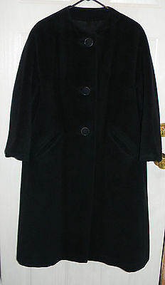 Vintage Women's Wool Bettijean Furred Fashion Black Lined Swing Coat 1950s Betti