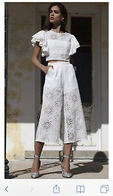Pleated Top & Belted Pants - Prem The Label! Roundup White Set! Top Size 8, Pants Size 10