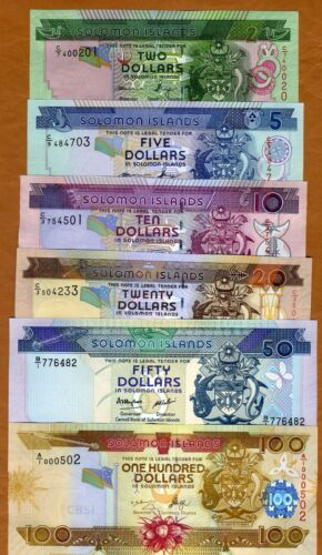 SET Solomon Islands, $2;5;10;20;50;100 ND (1997-2010), UNC
