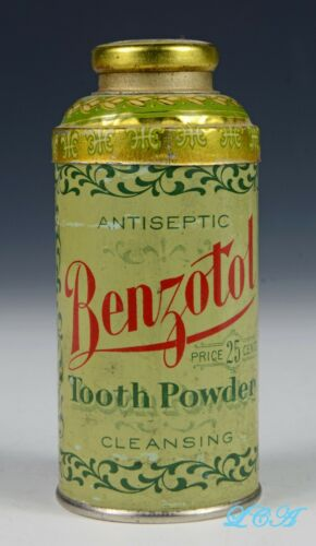 Antique BENZOTOL TOOTH POWDER tin BUTTE MONTANA J.T. FINLEN Drug Co