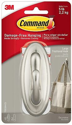Nexcare Traditional Plastic Hook, Large, Brushed Nickel 1 ea