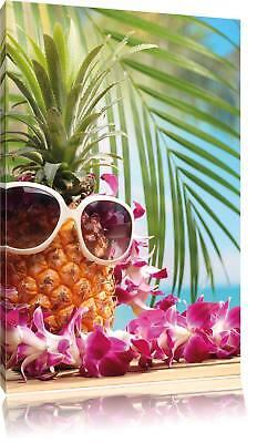 Ananas Urlaubsfeeling mit Sonnenbrille  Leinwandbild Wanddeko Kunstdruck