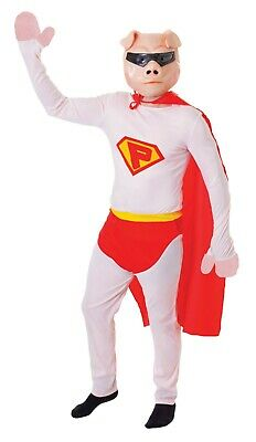 MENS SUPER PIG NOVELTY FUNNY STAG COSTUME SUPERHERO FANCY DRESS