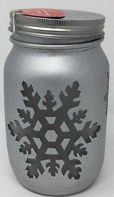 Light Up holiday Mason Jar Silver Quart. Set Of Two One Snowflake And One Tree (Light Up Mason Jars)