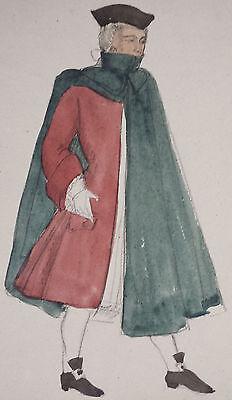 MAN IN 18th CENTURY DRESS - BEAUTIFUL ORIGINAL 19th CENTURY WATERCOLOUR PAINTING