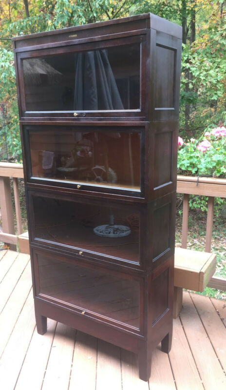 Refurbished vintage wood 4 shelf barrister bookcase - glass doors Northern VA-DC