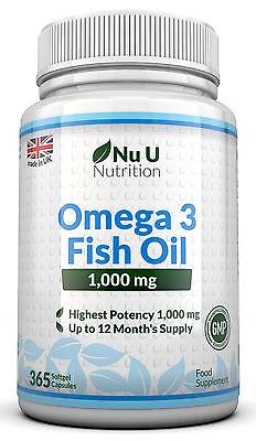 OMEGA 3 1000mg olio di pesce alto tenore 365 Capsule Morbide DHA,EPA 100%