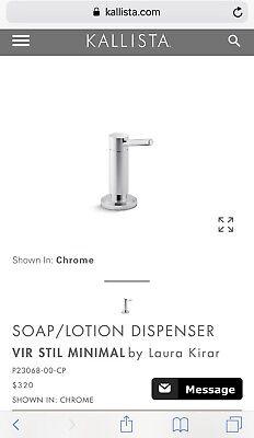 Kallista Vir Stil Minimal Luxurious Soap Dispenser P23068-00-CP CHROME NEW InBox, used for sale  Kansas City