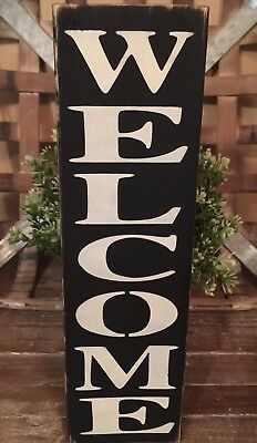Rustic Vertical Wood Sign WELCOME Front door Country Home Decor Porch - Rustic Country Decor