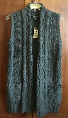 Cable Knit Wool Vest - EDDIE BAUER LONG WOOL SWEATER VEST WOMENS SIZE MEDIUM M BEAUTIFUL CABLE KNIT NWT
