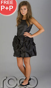 CHEAP-PROM-DRESSES-GIRLS-BLACK-PUFFBALL-PARTY-DRESS-SIZE-AGE-6-14-YEARS